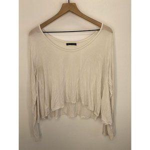 Brandy Melville Long Sleeve Solid Tee Shirt White